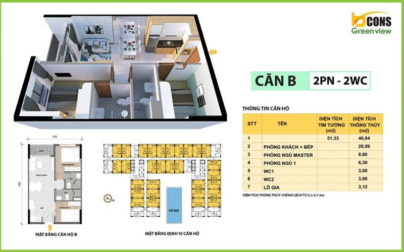 can ho bcons green view B 51m2