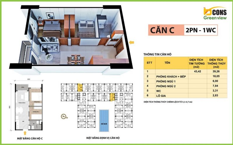 can ho bcons green view C 43m2